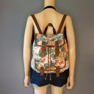 Floral backpack canvas faux leather school bag